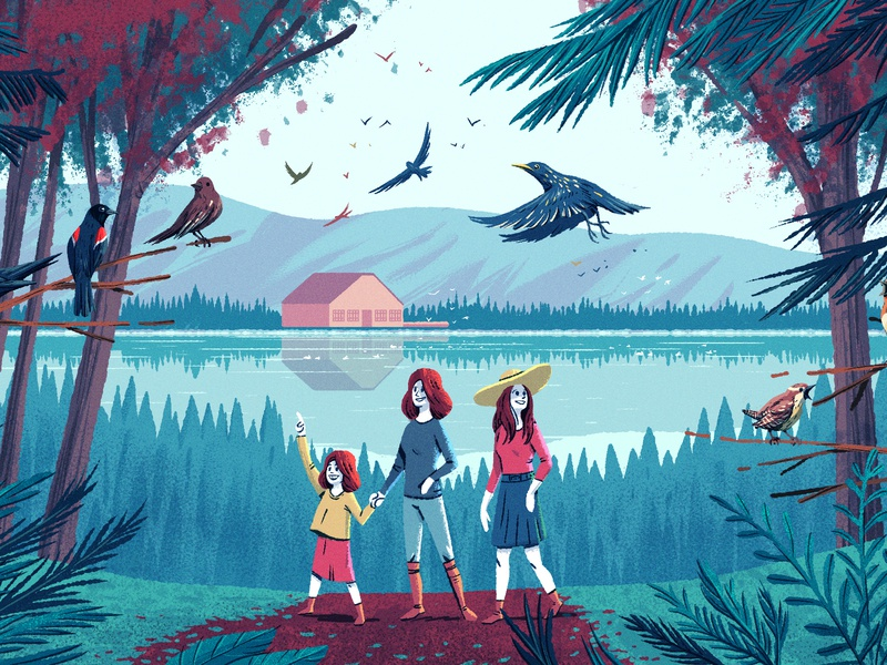 First days of Spring brushes lake children woman national parks trees birds characterdesign forest editorial drawing graphic character texture illustration