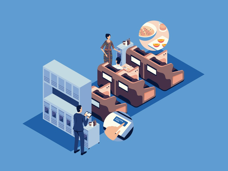 Singapore Airlines brainstoring infographic plane airline food airplanes perspective isometric editorial graphic character vector illustration