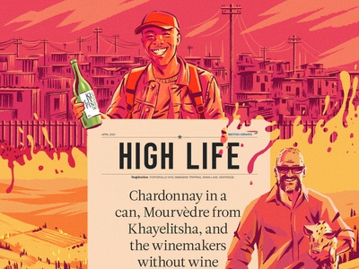 Highlife Magazine liquid landscape pig dog townships winemakers vineyards wine characterdesign typography editorial drawing graphic character texture illustration