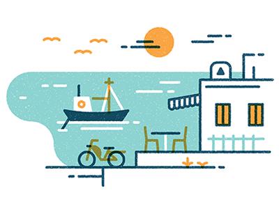 Mykonos boat island greece seaside ocean vector