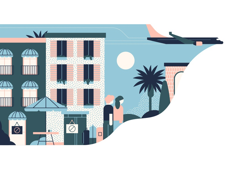 Which Magazine cruise ship palm tree airplane hotels characterdesign travel pattern textures design editorial graphic character vector illustration