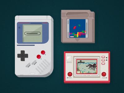 Game on! gameboy tetris octopus vector retro tech icons nintendo game dimension handset screen