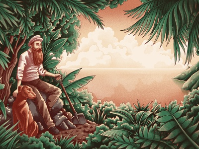 Hidden Treasure cocos island traveller adventurer pirates treasure voyage sea plants foliage island shipwreck dog digital painting drawing graphic character texture illustration