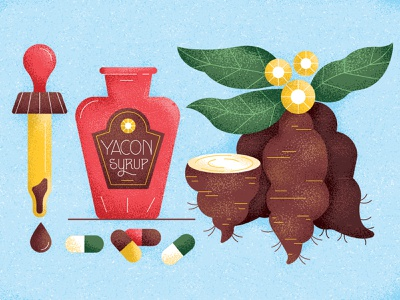 The Good Life medicine roots flowers shading medication pills syrup yacon dropper drawing graphic vector texture illustration