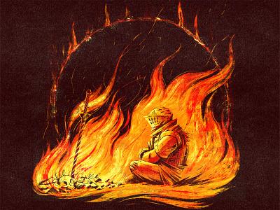 Bon Fire character design digital painting bones skull flames dark souls sword armour fire drawing graphic character texture illustration