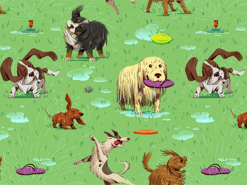 Fetch! photoshop brushstrokes pattern design summer grass jumping frisbee dogs pattern drawing graphic character texture illustration