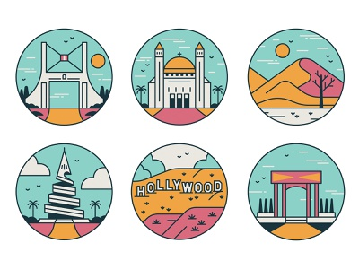 Guess the destinations hills clouds linework spot illustration cities landmarks travel iconography icons editorial retro graphic vector illustration