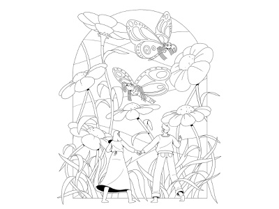 Daydreaming foliage woman man grass linework nature flowers plants butterflies characterdesign drawing graphic character vector illustration