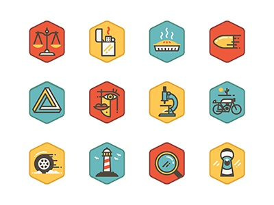 Icon Set icons vector scales zippo pie bullet microscope motorcycle tyre lighthouse keyhole magnifying glass