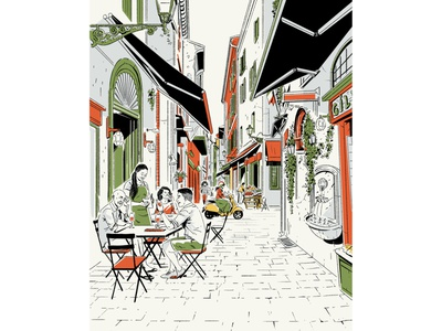 Eat Italy travel dining street food italy city perspective typography editorial drawing graphic character texture illustration