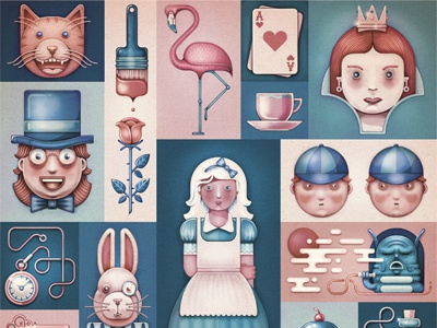 Alice's Adventures fairytale characters alice wonderland painted texture digital faces story