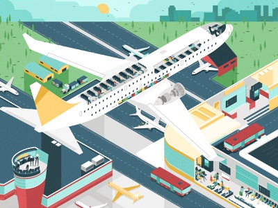 Discovering Planes control center bus travel characterdesign transport airport aviation airplane perspective isometric character graphic vector illustration