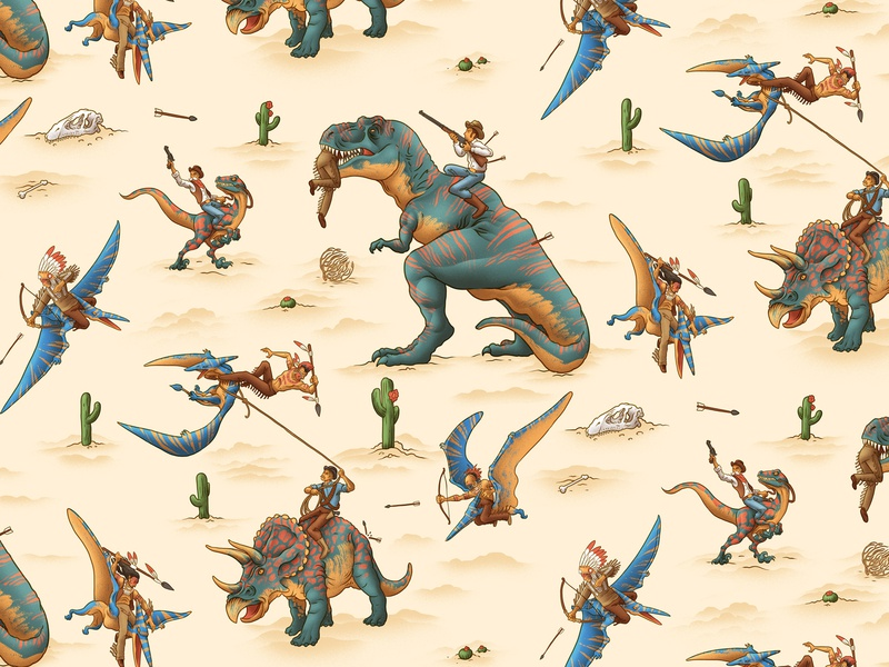 Wild West characterdesign pattern design fighting t-rex cactus desert indians cowboys dinosaurs pattern vintage retro drawing graphic character texture illustration