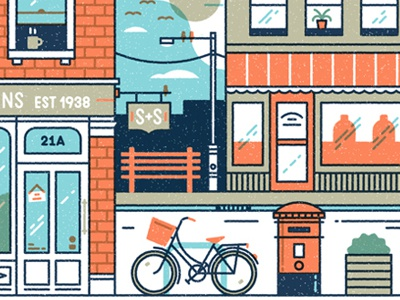 Street Scene vector bicycle texture shop store postbox city bench muti