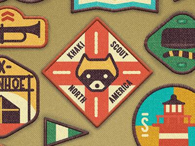 Merit Badges badges scout uniform vintage usa sewn embroidery lighthouse hat flag bugle raccoon