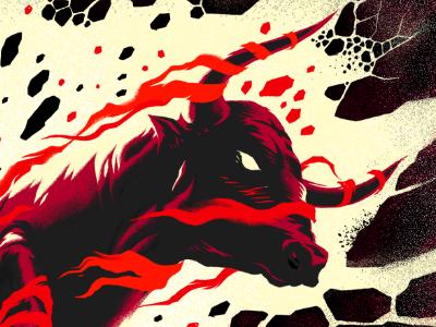 Raging Bull bull smash rage horns cloth torn energy texture breaking power muti illustration