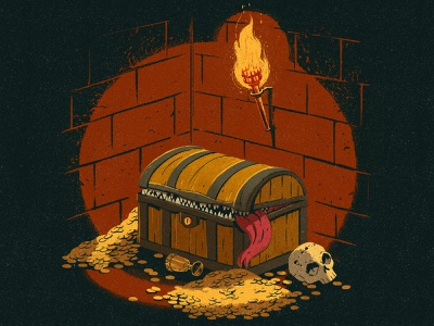Mimic teeth brushes coins money tongue hidden goblet chest adventure flame skull treasure drawing graphic texture illustration