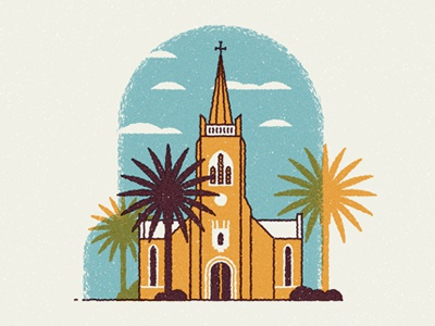 St. Martini vector texture church palm architecture landmark building sky clouds cathedral retro cape town