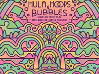 Hula Hoops and Bubbles packaging label illustration trees bubbles gradients hot air balloon circus beer can beer packaging design label design retro graphic vector illustration