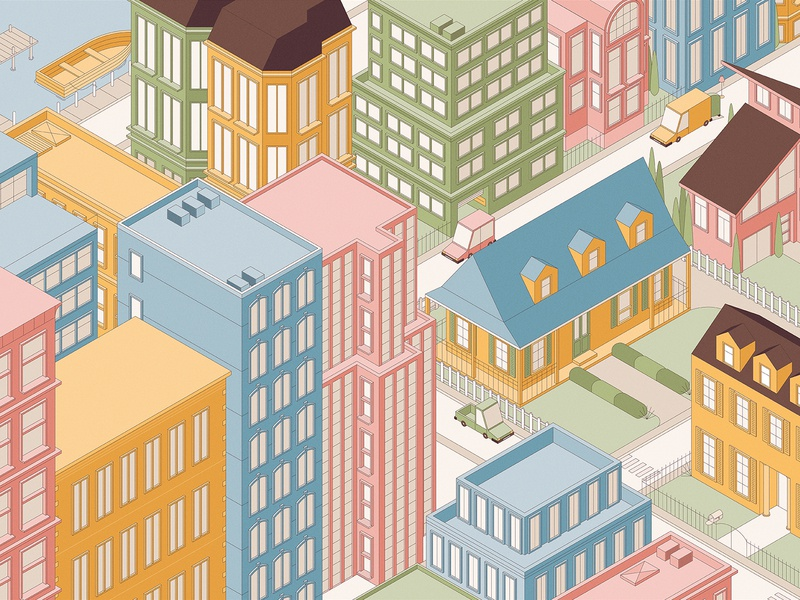 House Beautiful buildings linework skyscrapers transportation vehicles house perspective city isometric editorial graphic vector illustration