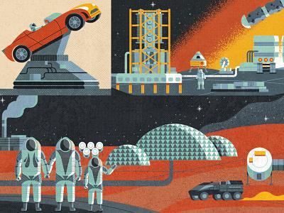 Space Adventures meteorite galaxy apollo astronaut spaceship mining mars tesla space retro drawing graphic character texture illustration