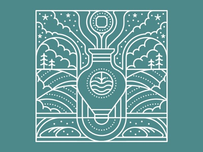 In-Touch minimal geometric clouds bread badge pattern trees water vase monoline linework flat editorial graphic vector illustration