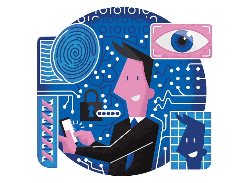 Cyber Security fingerprint characterdesign cyber security security eye biometrics drawing graphic character texture vector illustration