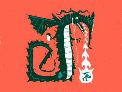 The Daily Grind characterdesign morning flames knight coffee dragon retro drawing graphic character texture illustration