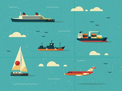 Modes of Transport vector texture ship ocean clouds birds tanker jet plane map water yacht