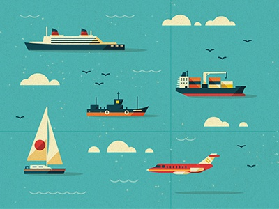 Modes of Transport vector texture ship ocean clouds birds tanker jet plane map water yacht