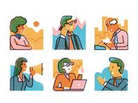 Chicago University business work diversity loudspeaker laptop career professional men women characterdesign editorial graphic character vector texture illustration