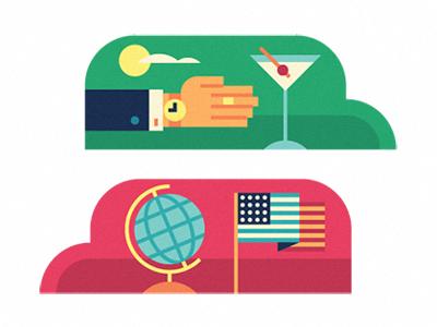 Martini please icon vector editorial arm hand ring watch martini globe flag usa