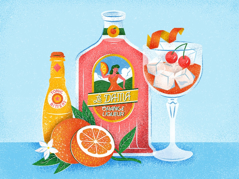 Orange Liqueur Cocktail characterdesign cherries drinks cocktail bitters orange blossom orange lettering typography retro graphic character vector texture illustration