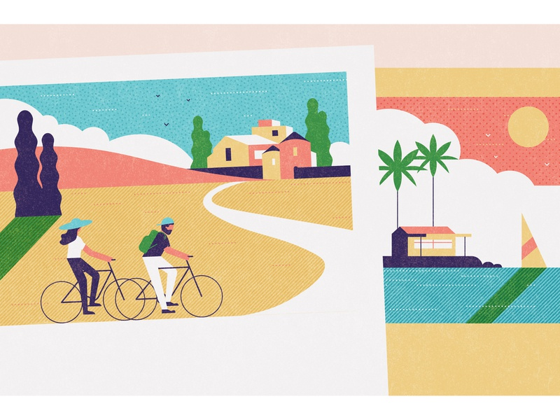 Which Magazine palm trees postcards bicycle travel holiday characterdesign editorial graphic character texture vector illustration
