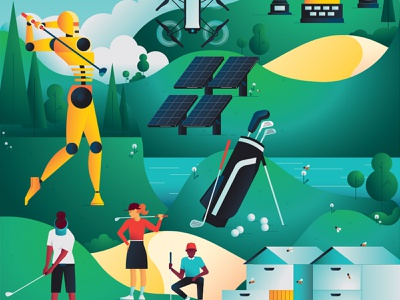Golfa Magazine gradients futuristic solar panel drone golf course bees characterdesign golf golfing robot editorial graphic character vector illustration