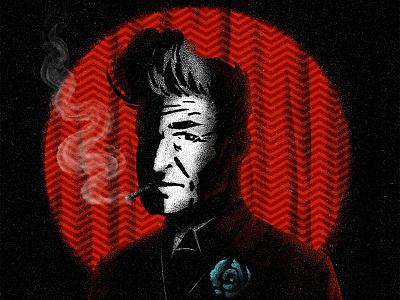 David Lynch pattern curtain brushes spotlight cigarette characterdesign smoke david lynch drawing graphic character texture illustration