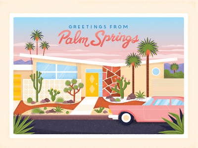 Palm Springs succulents cactus palm tree suburb buildings home cars lettering typography vintage flat retro drawing graphic character vector texture illustration