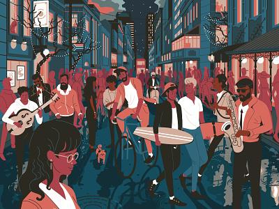#Restart2020 outdoor crowds dog musician long street saxophone man woman capetown characterdesign retro drawing character vector illustration