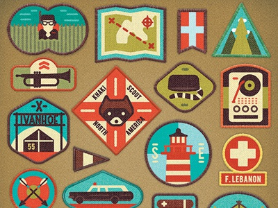 Moonrise Kingdom badges scout lighthouse arrows map flag racoon texture khaki vector icons illustration