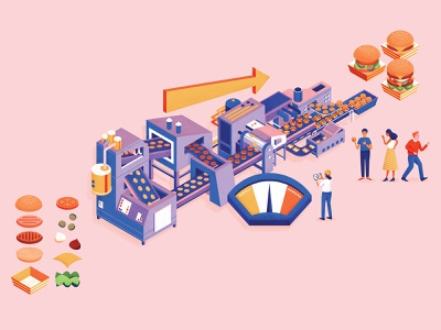 Chicago Booth isometric conveyor belt takeout burgers assembly line character design editorial retro graphic character vector texture illustration