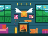 The Future of Money characterdesign birds stag wood ore cabin mountains trees fire holiday editorial graphic vector illustration