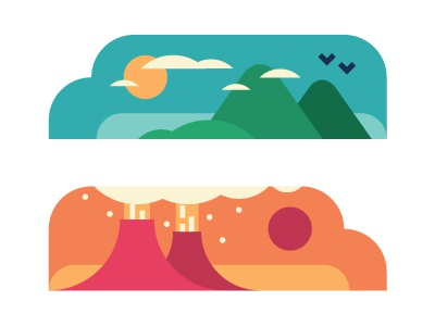 Heaven & Hell vector icons editorial heaven hell muti sun mountain volcano clouds ash birds