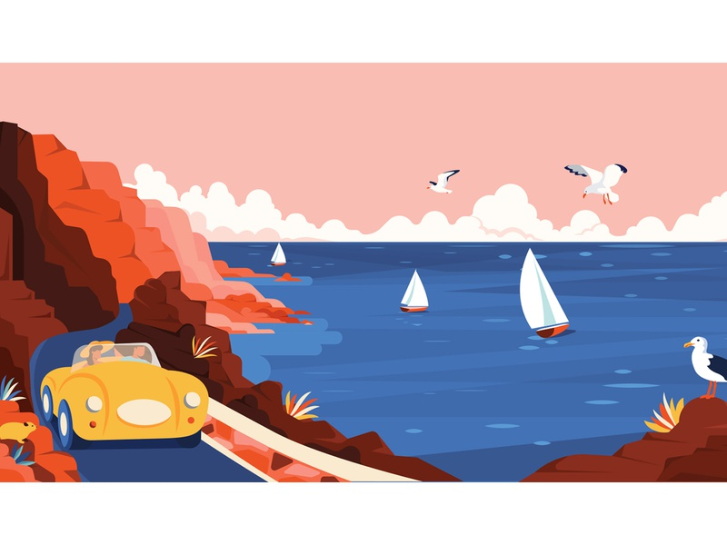 Chapmans Peak chapmanspeak dassie travel cape town yacht seagulls characterdesign car retro graphic character vector illustration