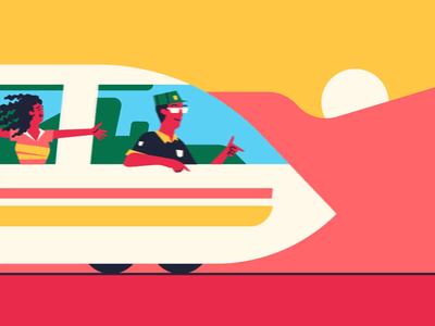 Good Times in Transit conductor 2danimation africa characterdesign train motiondesign loop gif animation graphic character vector illustration