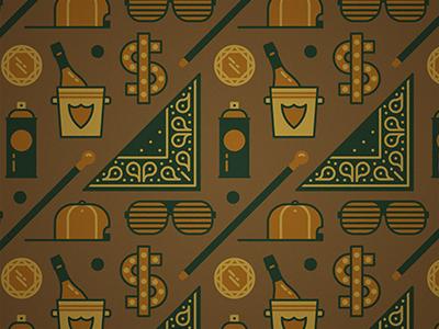 Big pimpin' wallpaper pattern vector cap champagne bling bandana dollar diamond hip hop spray can