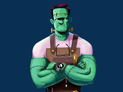 Frankenstein skull spectacles glasses businessman characterdesign frankenstein october halloween drawing graphic character texture illustration