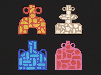 Vessels geometric truegrittexturesupply halftone patterns pots vessels ceramic pottery retro drawing graphic vector texture illustration