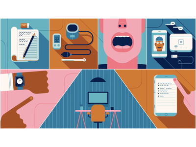 Telehealth motiondesign loop gif online blood pressure ui app dentistry medical 2d animation animation flat editorial graphic character vector illustration