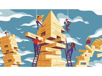 The Reporting Times clouds birds sky ladders jenga map characterdesign typography editorial retro drawing graphic character vector texture illustration