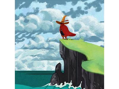 Wizard at The Shore characterdesign loop gif ocean waves wizard motiondesign animation stop motion cell animation drawing graphic character texture illustration